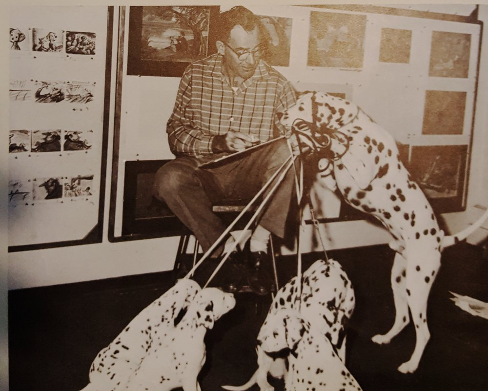 Frank Thomas with dalmatian models (Walt Disney's Treasury of Children's Classics)