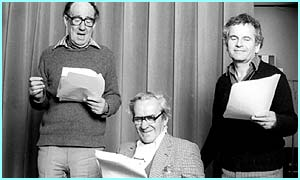 Actors Michael Hordern, John Le Mesurier, and Ian Holm from the BBC Dramatisation
