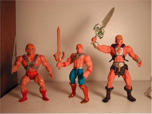 A Selection of He Man Action Figures Through the Ages
