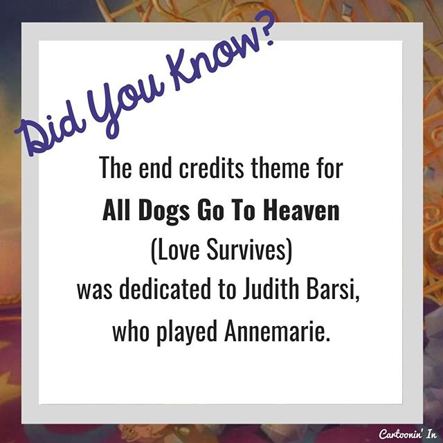 A life cut way too short.  Want to learn more about All Dogs Go To Heaven and other animated films?  Check out our blog and full episode atCartooninin.com/episodes/alldogsgotoheaven . . . . #alldogsgotoheaven #movietrivia #charliebarklin #itchyitchford #domdeluise #burtreynolds #donbluth #bluthstudios #nostalgia #1980s #trivia #didyouknow #kidsmovies #animation #cartoon #podcast #judithbarsi