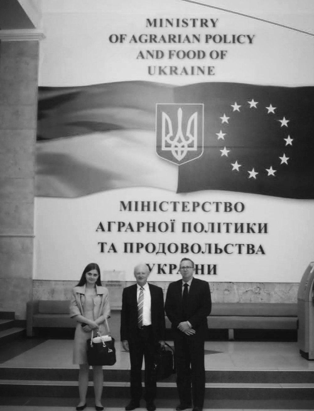 Professor Ross Kingwell and Chris Carter, with Australian Embassy representative Anna Shcherbak, prior to visiting the Ukrainian Ministry of Agrarian Policy and food, 2016