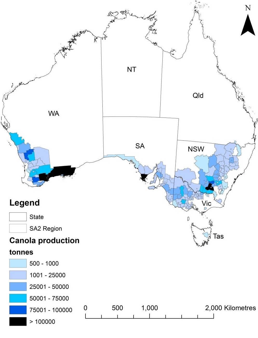 Figure 1. Average canola production in farming regions of Australia (2010/11-2013/14). (Source: Australian Bureau of Statistics and the CSIRO)