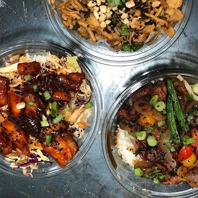 Korean pork belly spicy shredded chicken and teriyaki steak.  Cookin all weekend