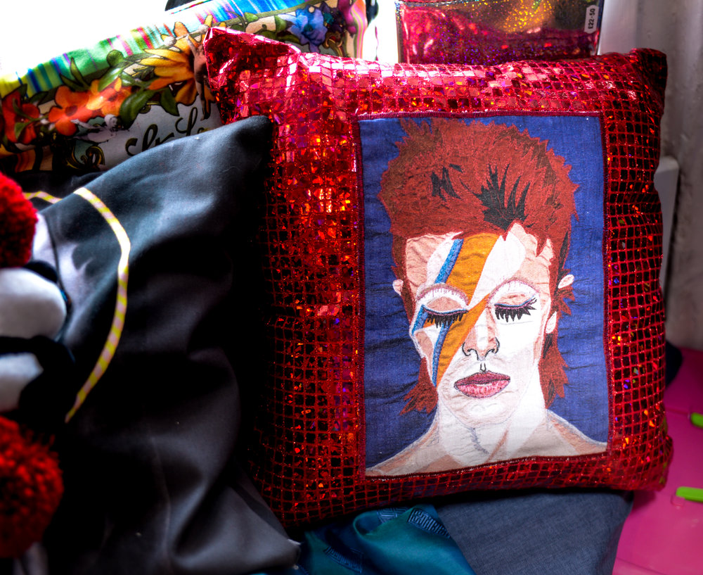 David red sequinned cushion.jpg
