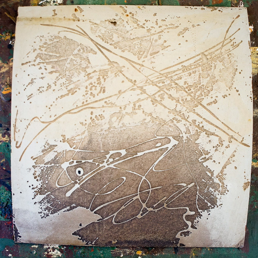 abstract block after etching, rinsing and cleaning - ready to print