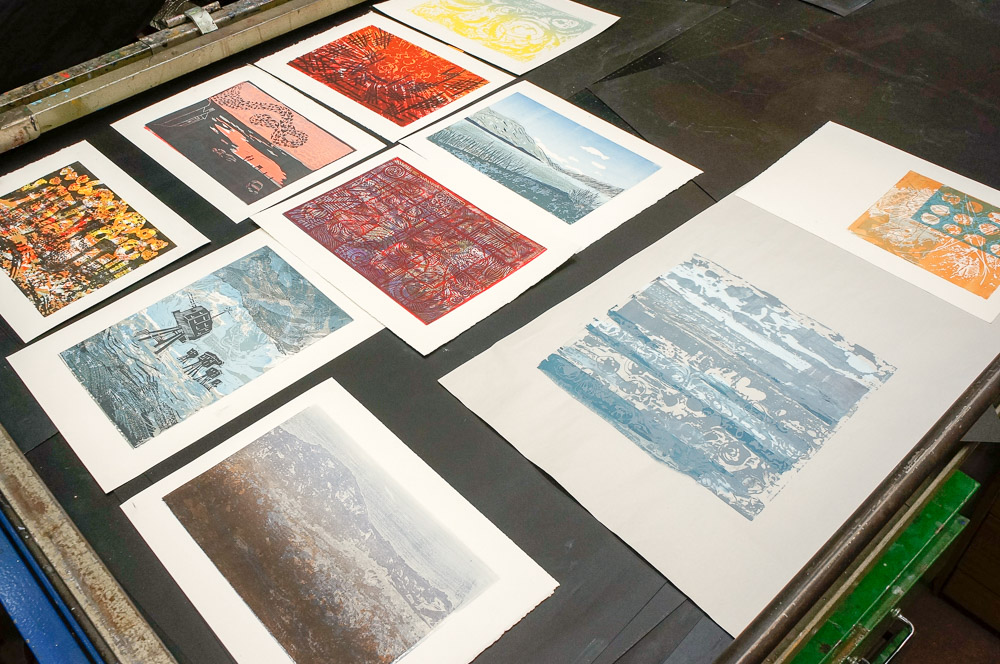 end of course showcase admiring huge range of prints, colours and approaches taken to the process.