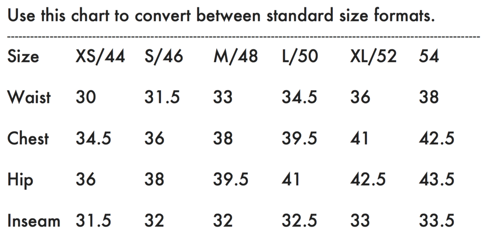 Neuw Size Guide Mens Body Measurements Inches