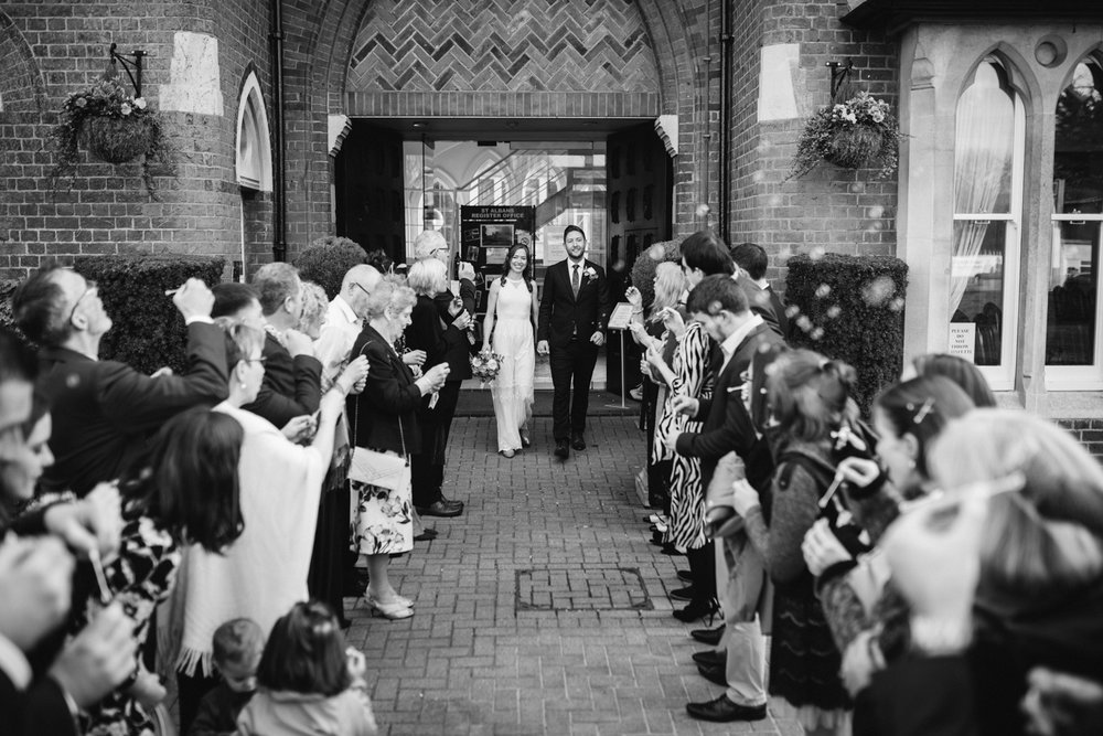 Wedding party outside St Albans register office