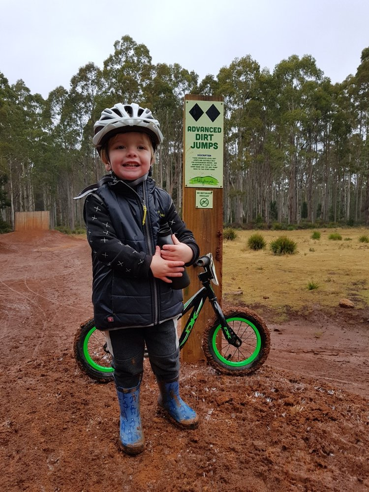 William, aged three, at Hollybank Mountain Bike Park. Image courtesy of Mikaela