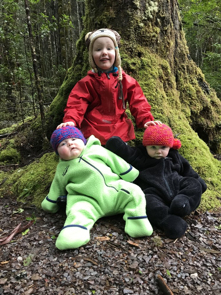 The Kids on the walk. Love our Kathmandu and Macpac onesies.