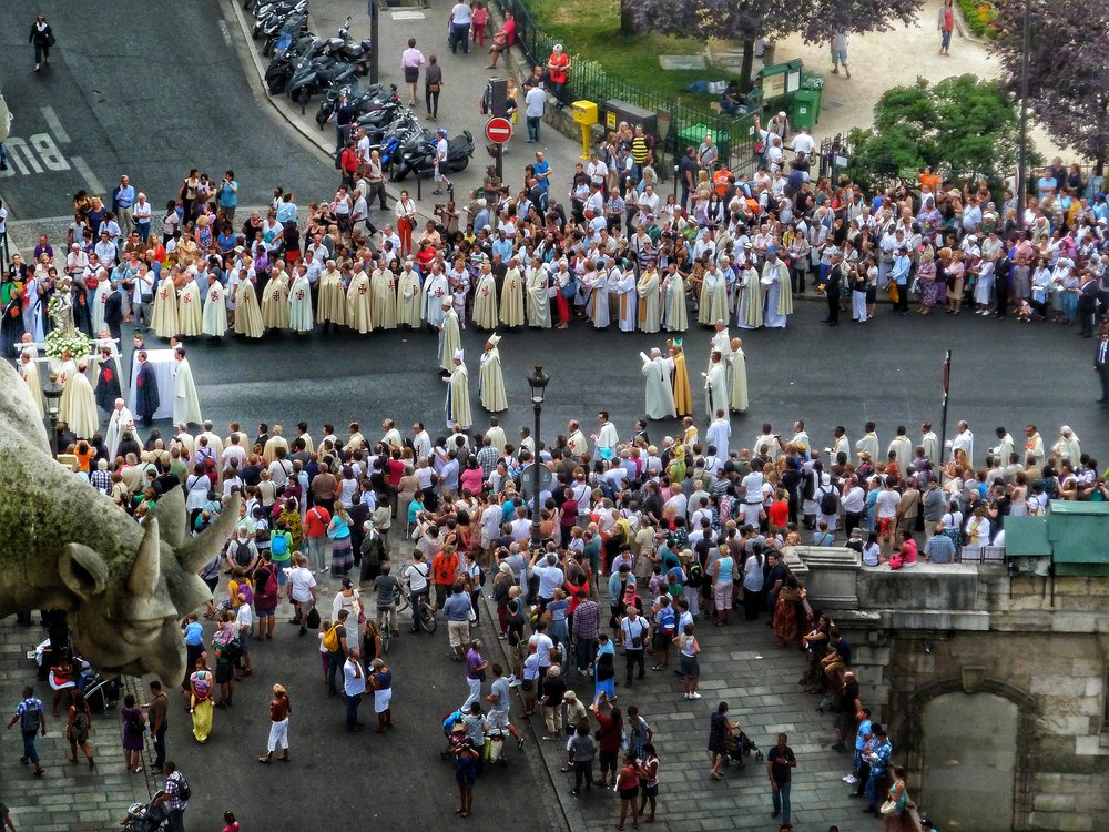 Aussumption Day of Mary, street procession.