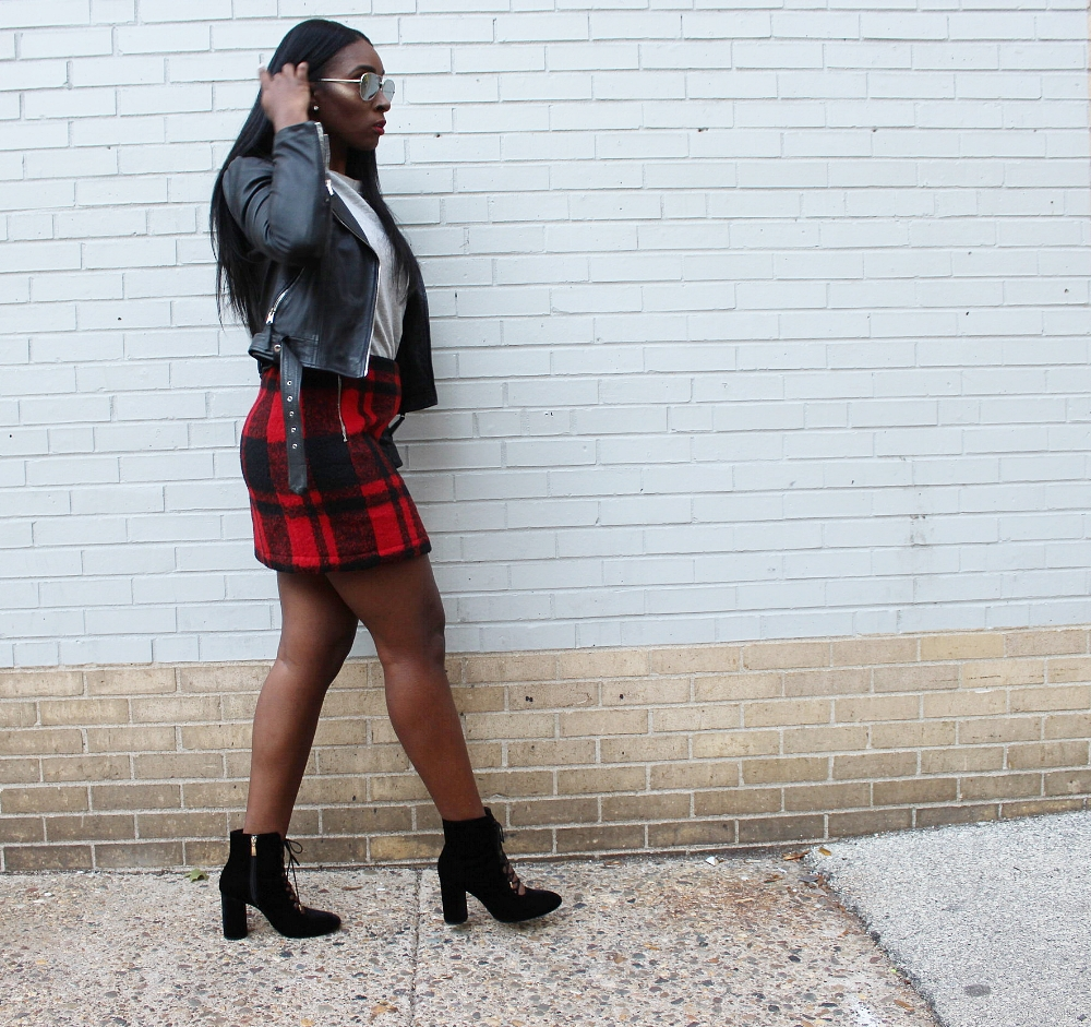 Get my  skirt ,  jacket , and  booties