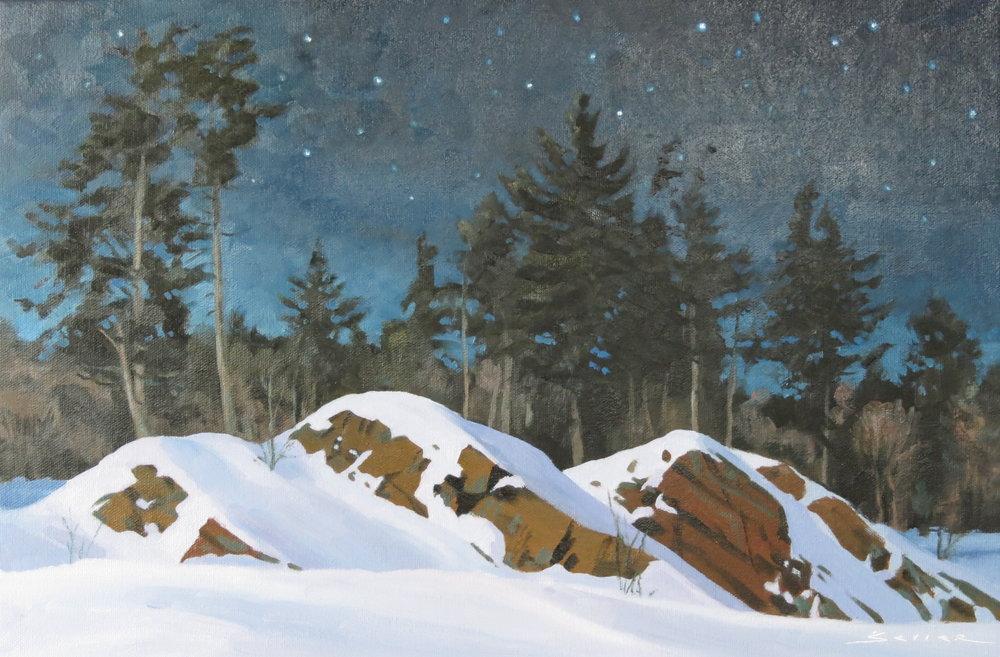Alqonquin Winter Night, 12 x 18, oil