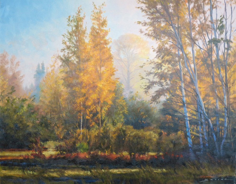 Morning Glow by Whitefish Lake, 16 x 20, oil