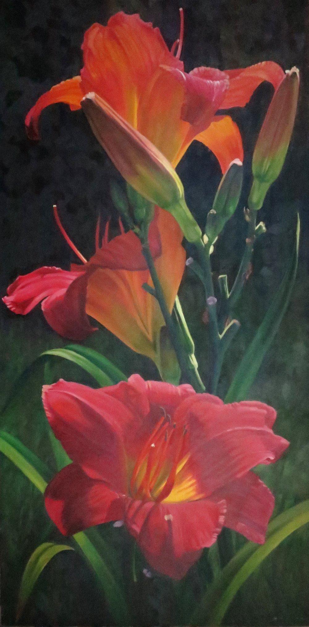 Three Red Lilies,  60 x 30, oil