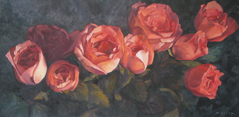 Study of Roses on a Dark Background,  18 x 36, oil