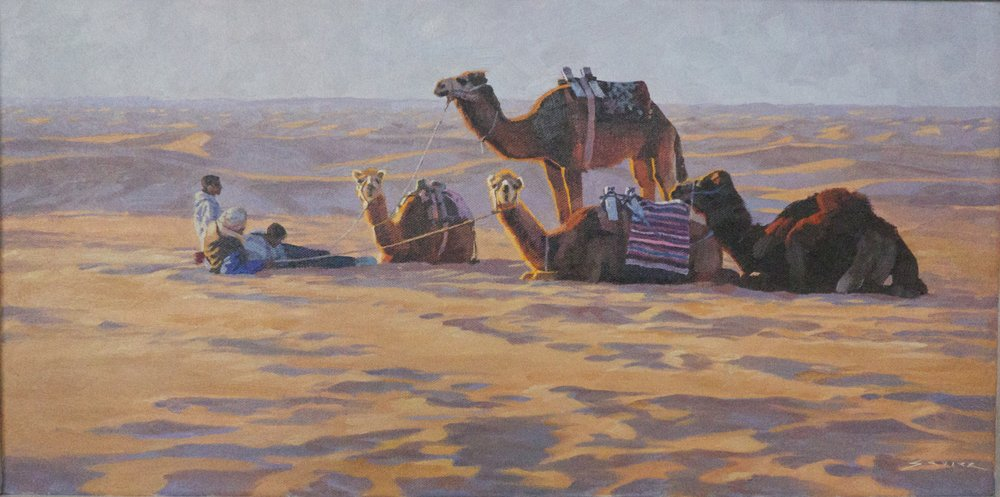Camels of Sahara Douz, 12 x 24, oil