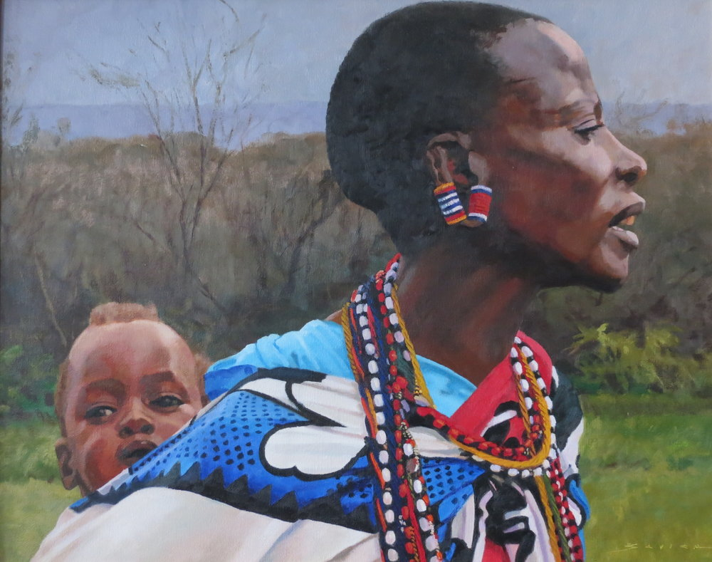 Masai Mother & Child, 16 x 20, oil