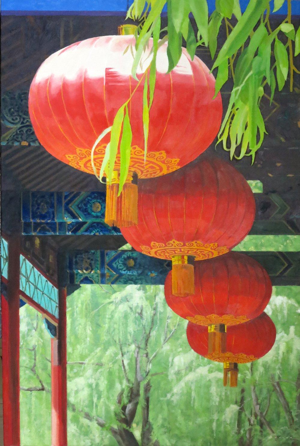 Red Lanterns of Jinan, 36 x 24, oil