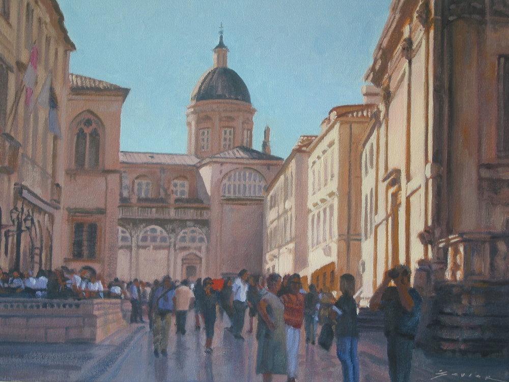 Main Square/Dubrovnik, 12 x 16, oil