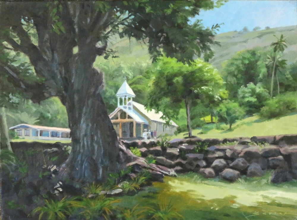 Tahuata Church, 12 x 16 oil