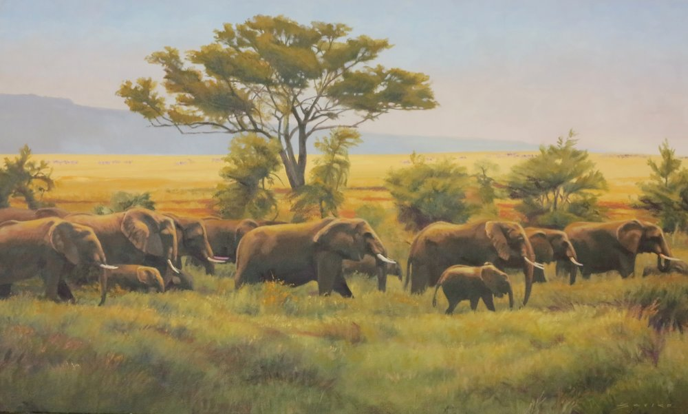 Elephants of the Serengeti/Tanzania, 18 x 30, oil