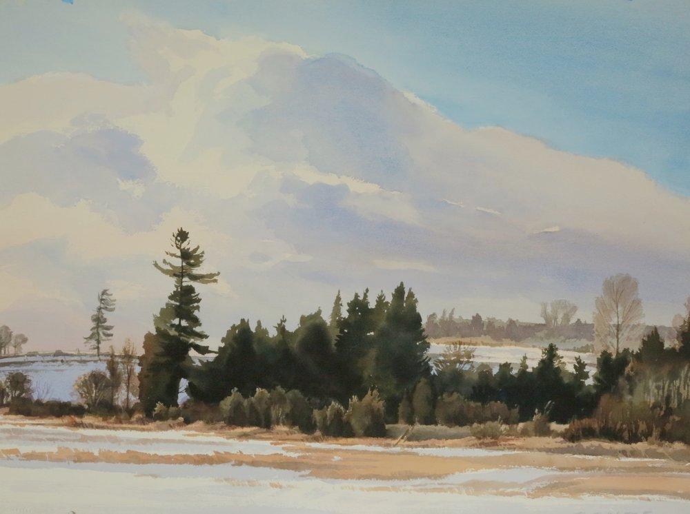 Sunny Winter Day 22 x 30 watercolour