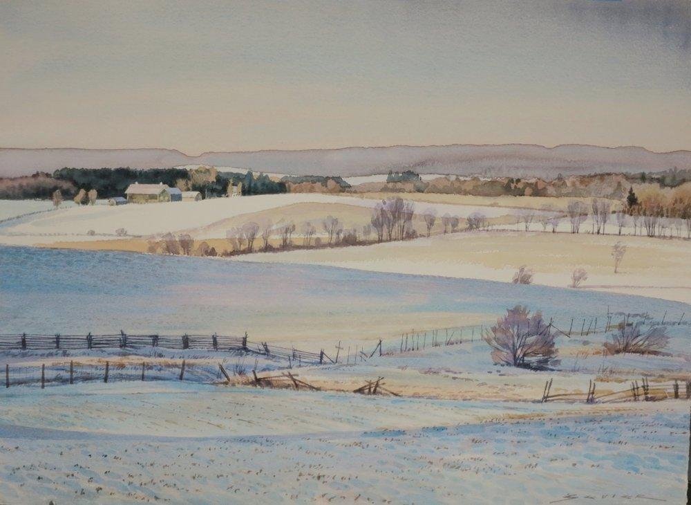 Winter near Rice Lake 22 x 30 watercolour