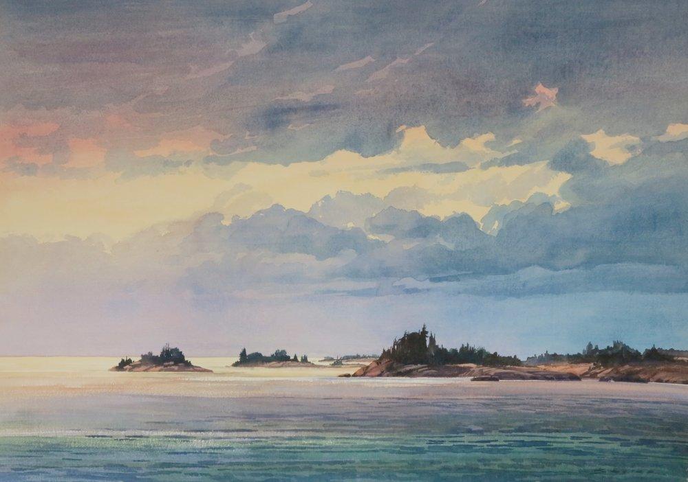 Evening Geo. Bay 29 x 41 watercolour