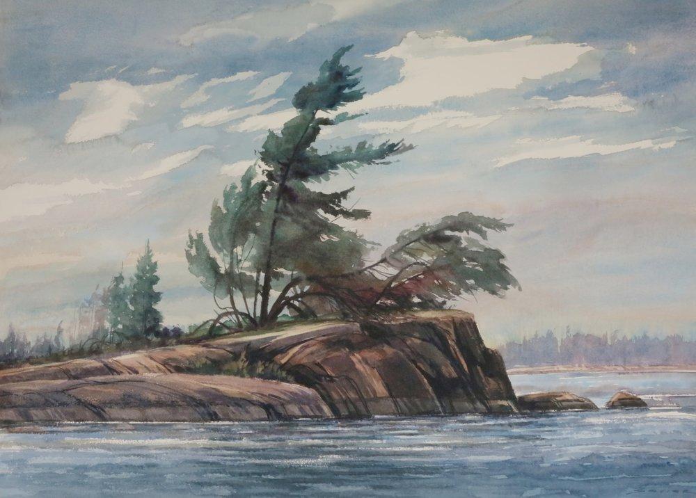 Stormy Geo. Bay 29 x 41 watercolour