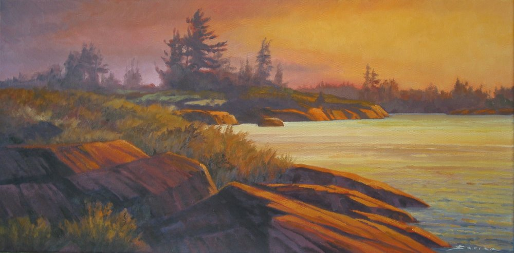 Evening Geo. Bay,12 x 24, oil