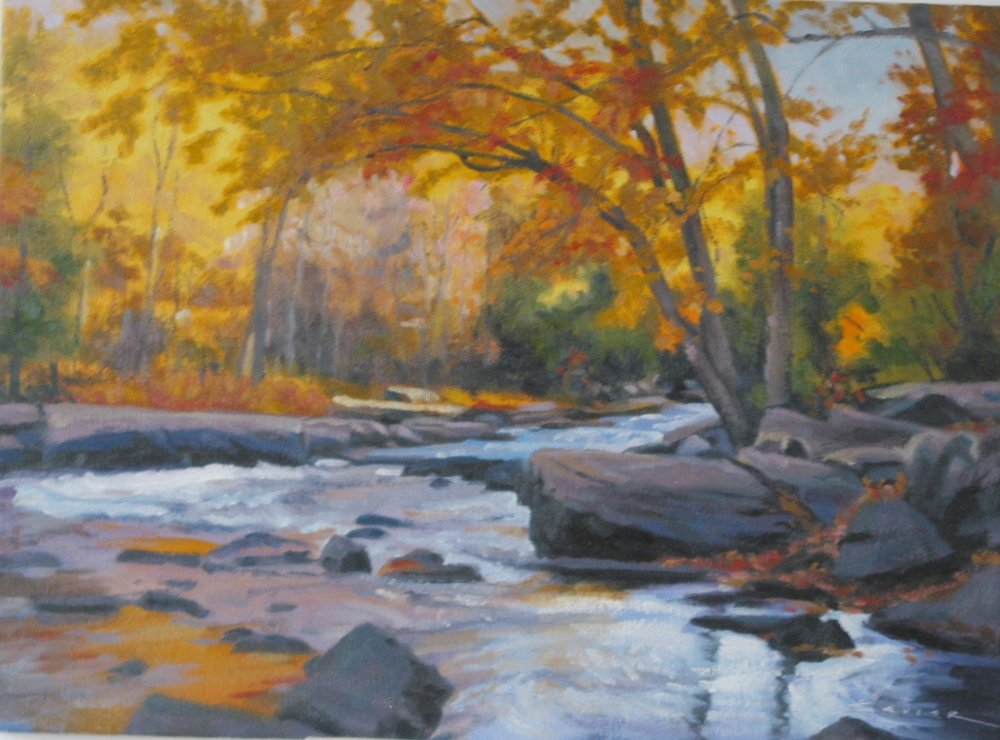 Looking Down Oxtongue Rapids, 12 x 16, oil