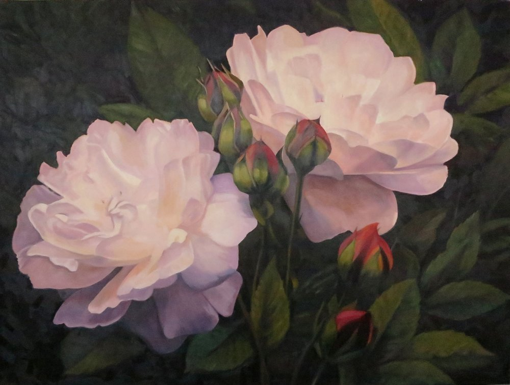 Two Roses on a Dark Background,  30 x 40, oil