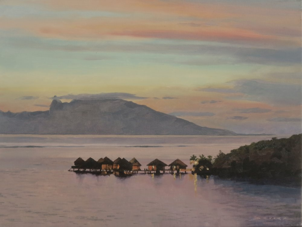 Moorea, Looking from Tahiti,  12 x 16, oil