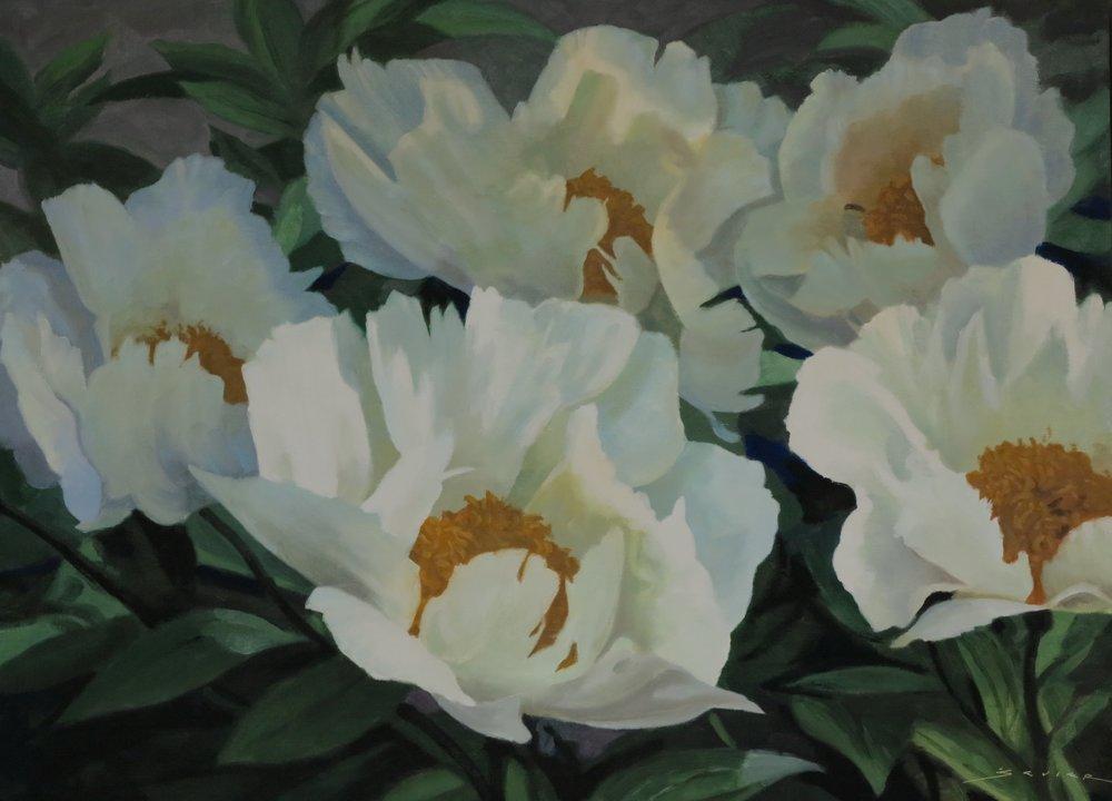 Five White Peonies