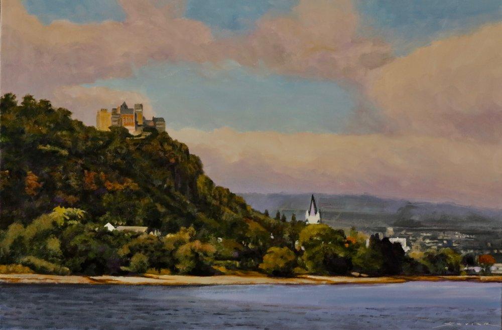 """Gutenfels Castle, Kaub Germany    20"""" x 30"""" oil"""