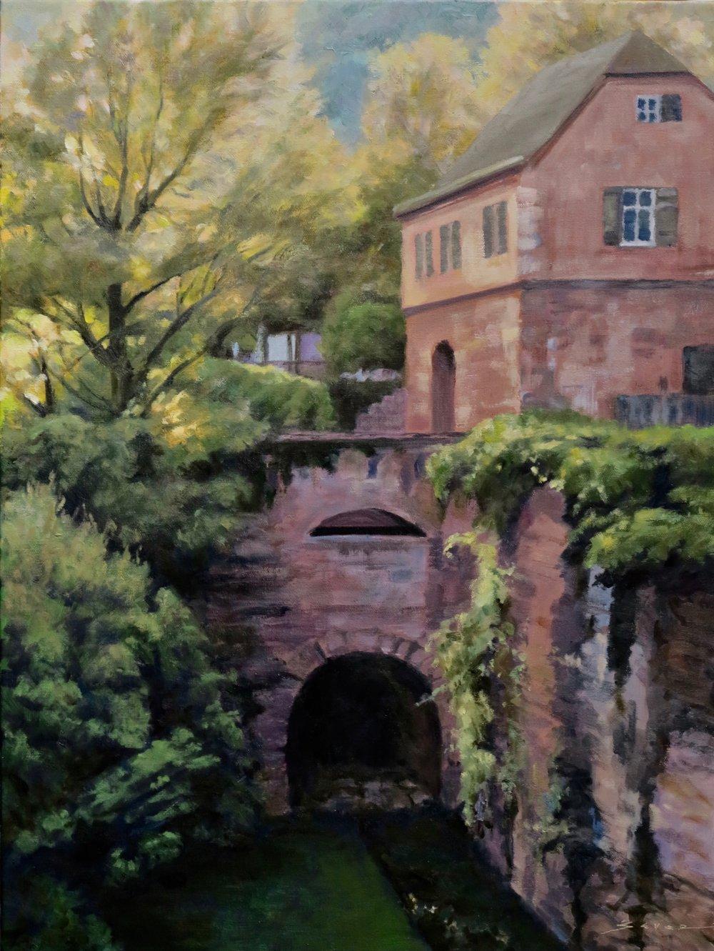 """Castle Ruins, Heidelberg, Germany         24"""" x 18"""" oil"""