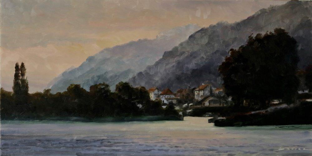 "Along The Rhine  12"" X 24"""