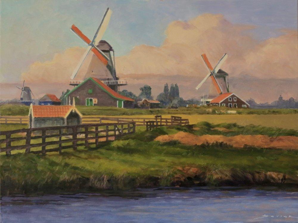 "Windmills at Zaanse Schans                           18"" x 24"" oil"