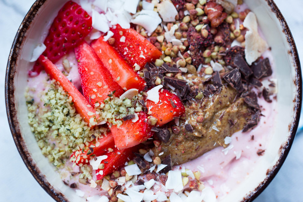 Strawberry, Coconut and Tahini Smoothie Bowl