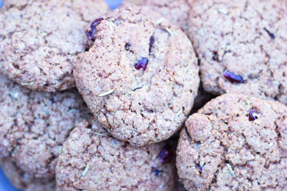 Rosemary, Cranberry and Chocolate Cookies