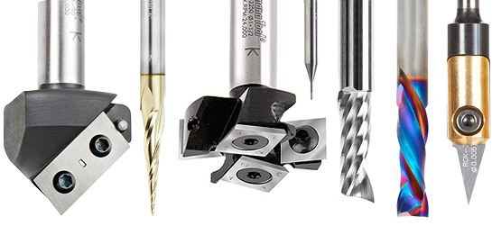 CNC cutting tools, endmills, ballnose cutters, v-tip cutters
