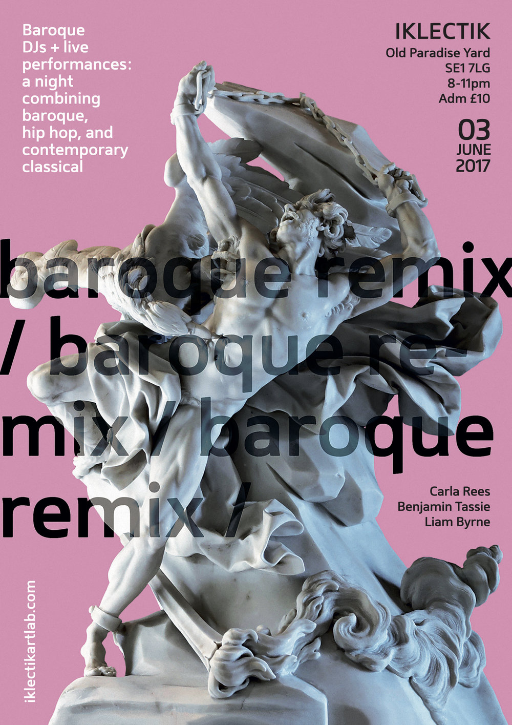 - Baroque Remixes and live performances at IKLECTIK in a club night combining Baroque with hip hop, R&B and contemporary classical music.