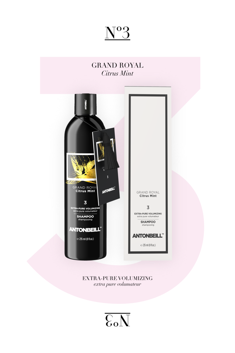 Nº3 Grand Royal Citrus Mint Shampoo - Natural Equilibrium, of Rose, Citrus & Peppermint
