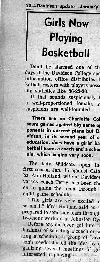 Davidson Update, Davidson College, January 1974.