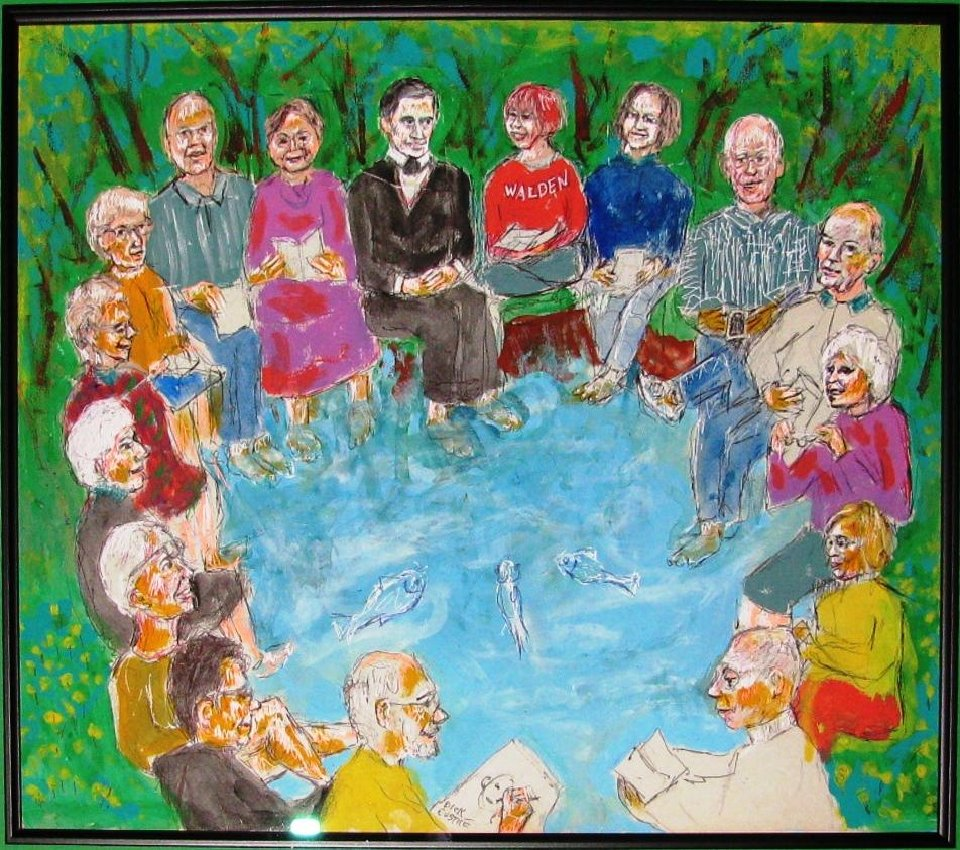 Artist Dick Eustice painted the Friends of Emerson group, its members' feet symbolically dangling in Thoreau's Walden Pond. Writer Lucy Bell started the group in 2002 while grieving the death of her husband, Oliver Bell. Twice a month, ever since, the group has met in the library of First Congregational Church, 20 E. Saint Vrain St., to discuss Ralph Waldo Emerson's essays and poems and how they relate to modern life. Eustice is a member of the group. Courtesy photo.