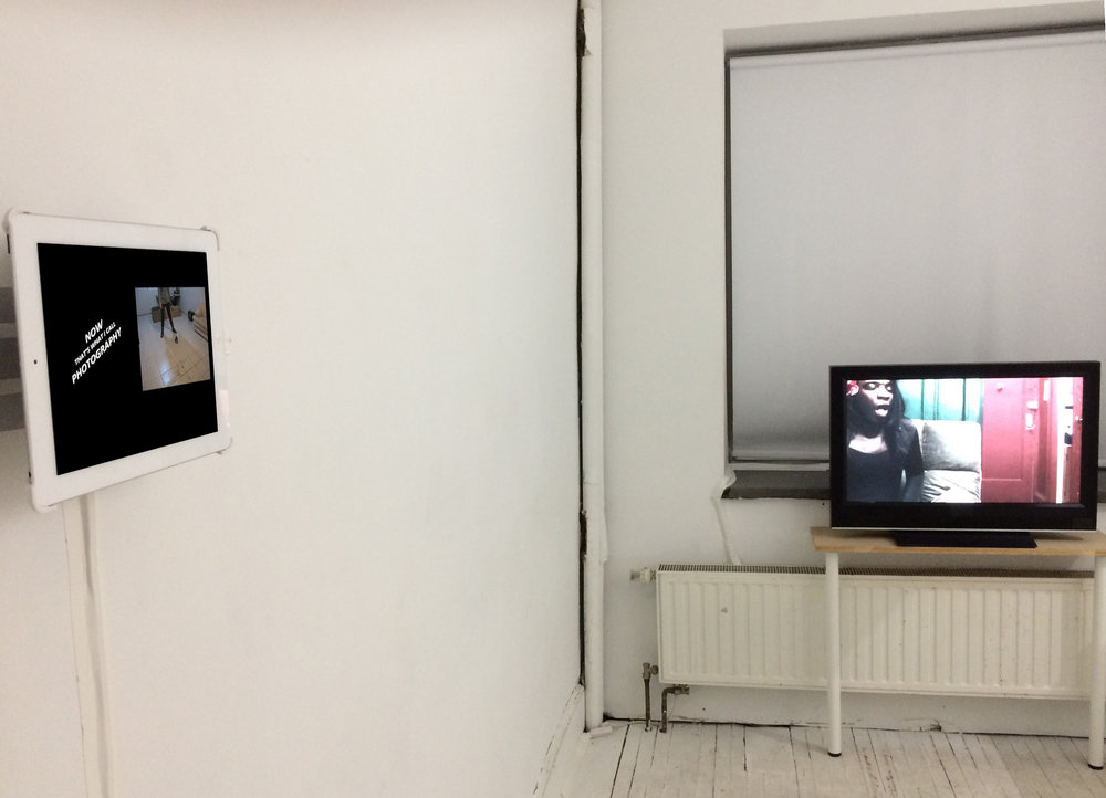 Installation view of Andrea Arrubla (L) and Kalup Linzy (R). Image courtesy of Open Projects.