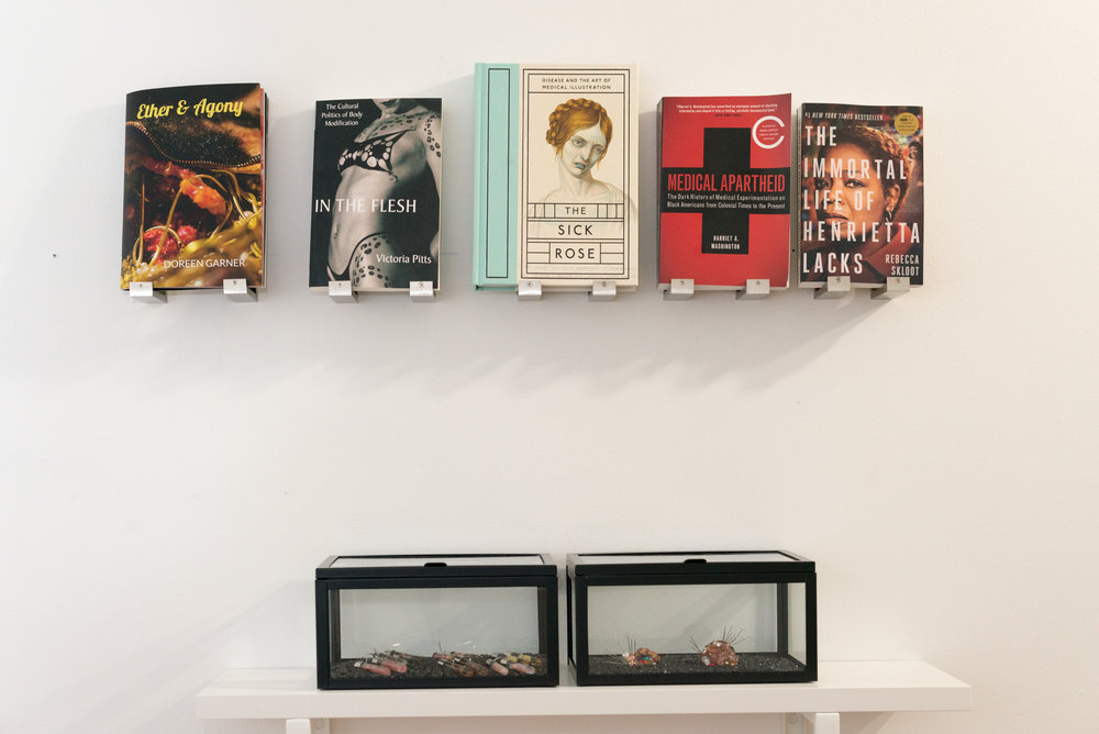 Garner's library, installed above a sculptural vitrine. Books included (L-R): Doreen Garner's   Ether & Agony  ; Victoria Pitts'   In the Flesh  ; Richard Barnett's   The Sick Rose  ; Harriet A. Washington's   Medical Apartheid  ; and Rebecca Skloot's   The Immortal Life of Henrietta Lacks  . Image courtesy of Larrie.