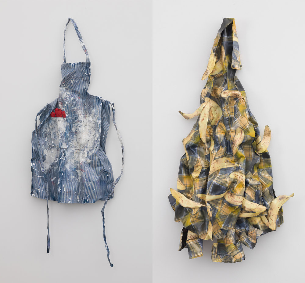 David Kennedy Cutler, (L)  Work Apron with Glove  (2017), gesso, inkjet, spray paint, Permalac on aluminum, 42 x 23 x 6 inches; (R)  Yellow Plaid Bananas  (2017), gesso, inkjet, spray paint, Permalac on aluminum, 61 x 25 x 15 inches. Photos by Adam Reich, courtesy of the artist and Derek Eller Gallery.