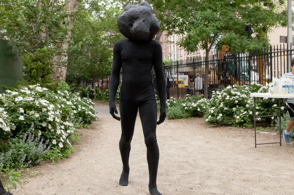 Rudy Shepherd 's  Black Rock Negative Energy Absorber  at First Street Green Art Park, New York, NY, 2014.